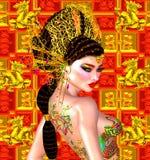 Ασιατική όμορφη γυναίκα, δερματοστιξία δράκων σε την πίσω, ζωηρόχρωμοι makeup και στηθόδεσμος Στοκ Εικόνες