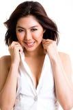 ασιατική όμορφη γυναίκα χαμόγελου στοκ εικόνα