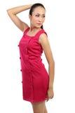 ασιατική όμορφη κόκκινη γυναίκα φορεμάτων Στοκ φωτογραφίες με δικαίωμα ελεύθερης χρήσης
