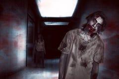 Ασιατικοί άνδρας και γυναίκα zombie στο δωμάτιο Στοκ φωτογραφίες με δικαίωμα ελεύθερης χρήσης