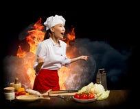 Ασιατικός εξαγριωμένος μάγειρας γυναικών, κολάζ Στοκ Φωτογραφίες