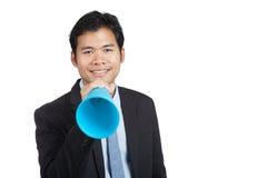 Ασιατικός επιχειρηματίας με megaphone Στοκ Φωτογραφία