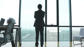 Ασιατικός επιχειρηματίας που στέκεται μπροστά από τα παράθυρα στην αρχή απόθεμα βίντεο