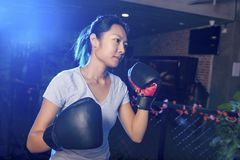 Ασιατικός θηλυκός εγκιβωτισμός άσκησης μπόξερ Στοκ Εικόνα