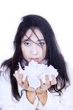 Ασιατικός ιστός εκμετάλλευσης κοριτσιών που απομονώνεται στο λευκό Στοκ Φωτογραφία