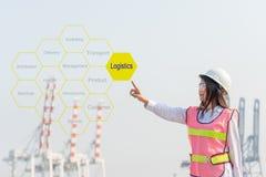 Ασιατικός λογιστικός σύμβουλος αφής μηχανικών γυναικών που παρουσιάζει το σύννεφο ετικεττών για το λογιστικό και λειτουργώντας φο στοκ εικόνα