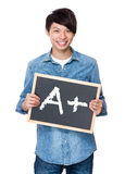 Ασιατικός νεαρός άνδρας με τον πίνακα κιμωλίας που παρουσιάζει Α συν το σημάδι Στοκ Εικόνες