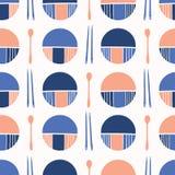 Ασιατικός πίνακας που θέτει στα μαχαιροπήρουνα Geo το μπλε πορτοκάλι ελεύθερη απεικόνιση δικαιώματος