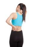 Ασιατικός υγιής αποκτημένος κορίτσι πόνος λαιμών και πόνος στην πλάτη Στοκ Φωτογραφίες