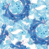 Ασιατικό άνευ ραφής σχέδιο στους μπλε τόνους Εκλεκτής ποιότητας backgro λουλουδιών Στοκ Εικόνες