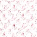 Ασιατικό άνευ ραφής σχέδιο danser Όμορφη κάρτα διακοσμήσεων με το χορό κοιλιών κοριτσιών Γεωμετρικό χέρι στοιχείων που σύρεται ελεύθερη απεικόνιση δικαιώματος