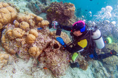 Ασιατικό άτομο με την υποβρύχια εγκιβωτισμένη κάμερα στοκ εικόνα