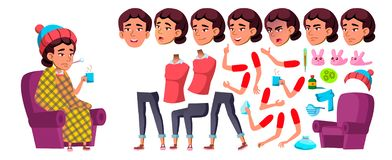 Ασιατικό διάνυσμα κοριτσιών Παιδί σχολείου Σύνολο δημιουργιών ζωτικότητας Συγκινήσεις προσώπου, χειρονομίες Άρρωστοι, βήχας Μύτη  διανυσματική απεικόνιση