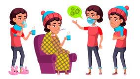 Ασιατικό καθορισμένο διάνυσμα κοριτσιών Παιδί γυμνασίου Άρρωστοι, βήχας Μύτη Runy υγεία εκπαιδευτικός Για την κάλυψη, σχέδιο αφισ απεικόνιση αποθεμάτων