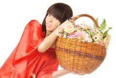 ασιατικό κορίτσι λουλουδιών Στοκ εικόνα με δικαίωμα ελεύθερης χρήσης