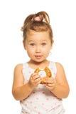 Ασιατικό κορίτσι με doughnut στοκ φωτογραφίες