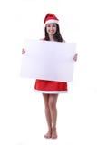 Ασιατικό κορίτσι Sant που κρατά το κενό έμβλημα στοκ φωτογραφία