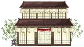 Ασιατικό κτήριο με τα φανάρια και το μπαμπού απεικόνιση αποθεμάτων
