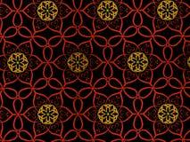 Ασιατικό κόκκινο και χρυσό χρώμα σχεδίων, απεικόνιση Λουλούδι Mandala διακοσμητικός τρύγος στ&o Διακόσμηση απομονωμένος στο Μαύρο διανυσματική απεικόνιση