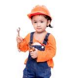 Ασιατικό μωρό μηχανικών με τα εργαλεία διαθέσιμα Στοκ Εικόνες