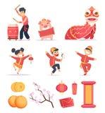 Ασιατικό νέο έτος Ο ευτυχής Κινεζικός λαός γιορτάζει το 2019 με το παραδοσιακό firecrackers φαναριών δράκων συμβόλων διάνυσμα απεικόνιση αποθεμάτων