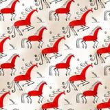 ασιατικό πρότυπο άνευ ραφή&si Παραδοσιακό άλογο ζωγραφικής Mezen η διακοσμητική εικόνα απεικόνισης πετάγματος ραμφών το κομμάτι ε Στοκ Εικόνες