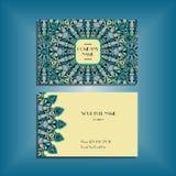 Ασιατικό πρότυπο επαγγελματικών καρτών με το μπλε και κίτρινο στρογγυλό mandala Στοκ Εικόνα