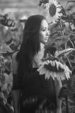 Ασιατικό πρότυπο στους ηλίανθους Στοκ φωτογραφία με δικαίωμα ελεύθερης χρήσης