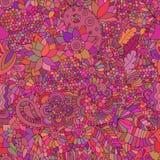 Ασιατικό ροζ υποβάθρου Doodle άνευ ραφής Στοκ εικόνα με δικαίωμα ελεύθερης χρήσης