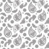 Ασιατικό σχέδιο του Paisley Γραπτή άνευ ραφής ταπετσαρία απεικόνιση αποθεμάτων