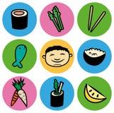 Ασιατικό σύνολο εικονιδίων κύκλων τροφίμων σουσιών κινούμενων σχεδίων Στοκ Φωτογραφία