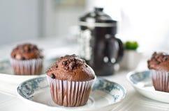 Ασιατικό τσάι με muffins σοκολάτας Στοκ εικόνα με δικαίωμα ελεύθερης χρήσης