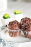Ασιατικό τσάι με muffins σοκολάτας Στοκ Φωτογραφία
