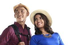 Ασιατικό χαμόγελο ζεύγους τουριστών Στοκ φωτογραφία με δικαίωμα ελεύθερης χρήσης