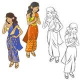 ασιατικό όμορφο χαμόγελο κοριτσιών Ελεύθερη απεικόνιση δικαιώματος