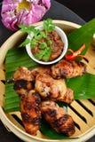 Ασιατικό ύφος, καυτά πιάτα κρέατος - τηγανισμένα φτερά κοτόπουλου Στοκ Εικόνες