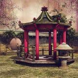 Ασιατικό gazebo σε έναν κήπο διανυσματική απεικόνιση