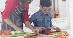 Ασιατικό mom που διδάσκει το γιο της πώς να κόψει τις ντομάτες απόθεμα βίντεο