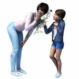 Ασιατικό Mom που παίρνει το λουλούδι από την κόρη απεικόνιση αποθεμάτων