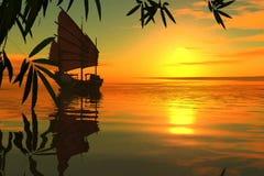 Ασιατικό sailboat στο ηλιοβασίλεμα στη νότια θάλασσα.  τρισδιάστατος  απεικόνιση αποθεμάτων