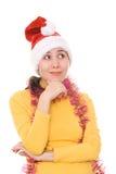 ασιατικό santa καπέλων s κοριτσιών στοχαστικό Στοκ φωτογραφία με δικαίωμα ελεύθερης χρήσης