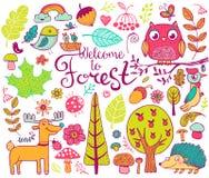 Δασικά στοιχεία σχεδίου στο ύφος doodle Στοκ Εικόνες