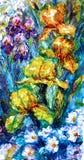 δασικός ποταμός ελαιογραφίας τοπίων Ίριδες λουλουδιών και ένα κλαδάκι των ροδαλών ισχίων Στοκ εικόνα με δικαίωμα ελεύθερης χρήσης