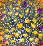 δασικός ποταμός ελαιογραφίας τοπίων Πολύβλαστη ανθοδέσμη σε ένα βάζο Στοκ φωτογραφία με δικαίωμα ελεύθερης χρήσης