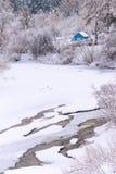 δασικό σπίτι χιονώδες Στοκ εικόνες με δικαίωμα ελεύθερης χρήσης
