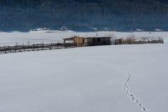 δασικό χειμερινό δάσος σκηνής λιμνών ειρηνικό Μικρό εξοχικό σπίτι κοντά στο φράγμα σε μια ηλιόλουστη χειμερινή ημέρα Χιονώδες παρ Στοκ Εικόνα