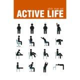 Ασκήσεις στο σύνολο ατόμων ραβδιών καρεκλών Στοκ Εικόνες