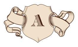 Ασπίδα και κορδέλλα στο παλαιό γραφικό ύφος Εκλεκτής ποιότητας στοιχεία στοκ φωτογραφία με δικαίωμα ελεύθερης χρήσης