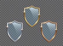 Ασπίδες γυαλιού με τα χρυσά, ασημένια και πλαίσια χαλκού που απομονώνονται στο διαφανές υπόβαθρο το σχέδιο εύκολο επιμελείται τα  απεικόνιση αποθεμάτων