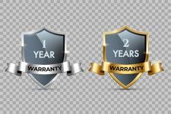 Ασπίδες γυαλιού με τα χρυσά και ασημένια πλαίσια και κορδέλλες με τα κείμενα εξουσιοδότησης ενός έτους και εξουσιοδότησης δύο ετώ ελεύθερη απεικόνιση δικαιώματος